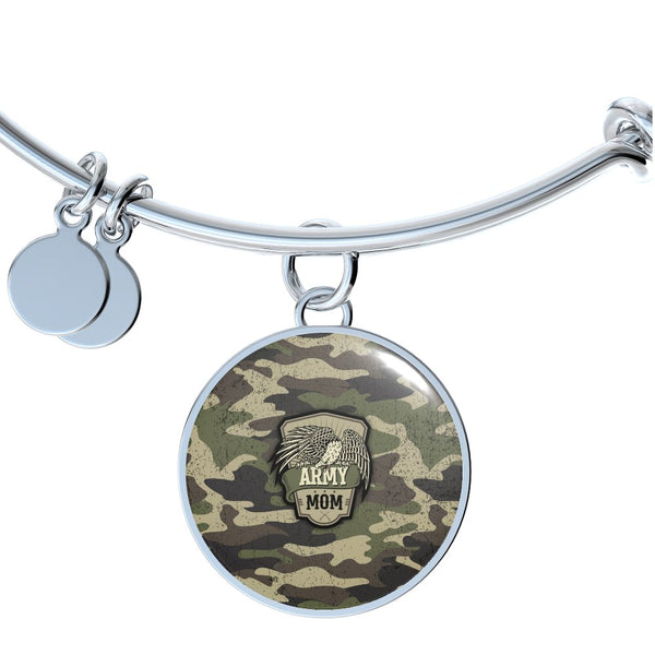 Army Mom Charm Bangle Bracelet