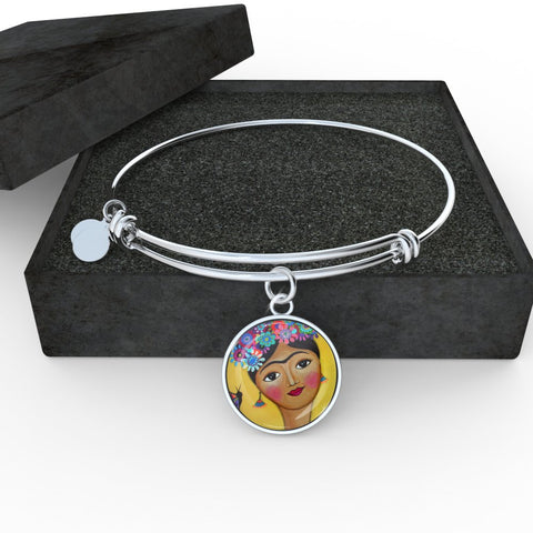 Frida Kahlo Charm Bangle Bracelet