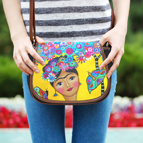 "Frida Kahlo ""Saddlebag"" Style Handbag"