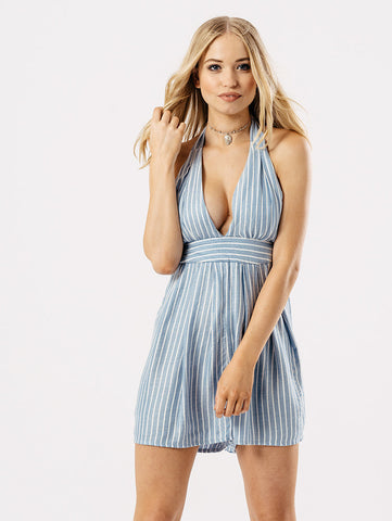 ChainedwithDaisies Blue Pinstripe Halter Neck Playsuit Playsuits & Jumpsuits