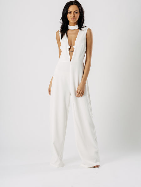 ChainedwithDaisies Wide Leg Choker Plunge Neck Ring Jumpsuit Playsuits & Jumpsuits