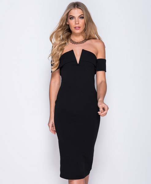 ChainedwithDaisies V Front Bardot Bodycon Dress Dresses