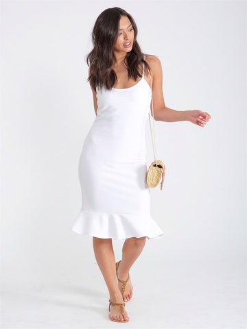White Fitted Frill Hem Mini Dress - PRE ORDER