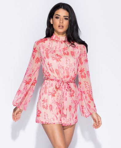 ChainedwithDaisies Pink Floral Print High Neck Playsuit - PRE ORDER Playsuits & Jumpsuits