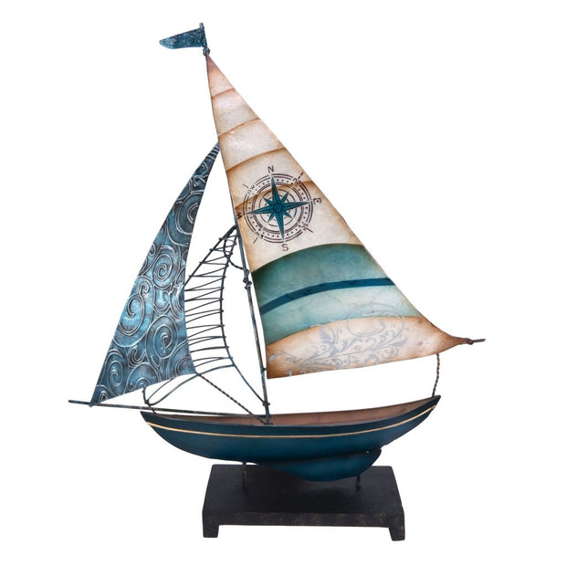 "18"" Capiz Metal Sailboat with Compass Motif"