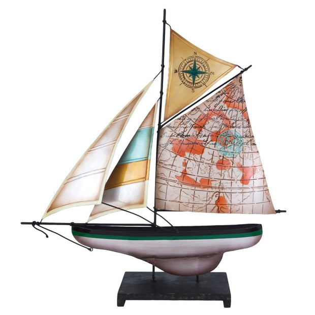 "20"" Capiz Metal Sailboat with Map Motif"