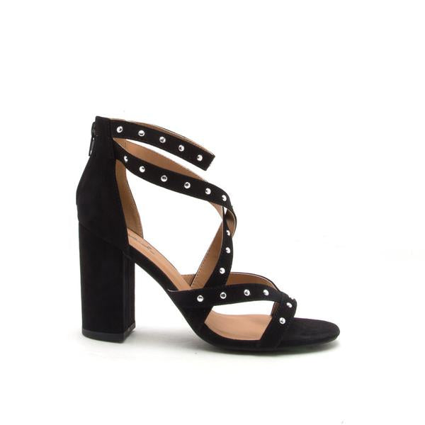 Embellished Wrap Heel (Black)