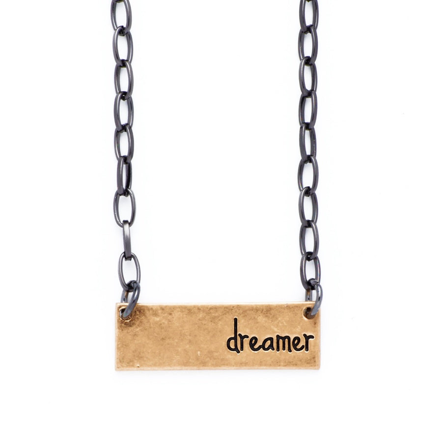 "Personality Etched Bar Necklace - ""Dreamer"""