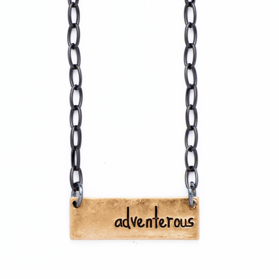 "Personality Etched Bar Necklace - ""Adventerous"""