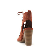 Perf Button Ankle Boot (Whiskey)
