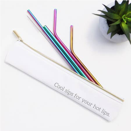 """Cool Sips For Your Hot Lips"" 6 Piece Straw Set (Rainbow)"