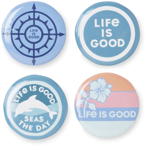 Life Is Good® Beach Button 4-Pins Pack