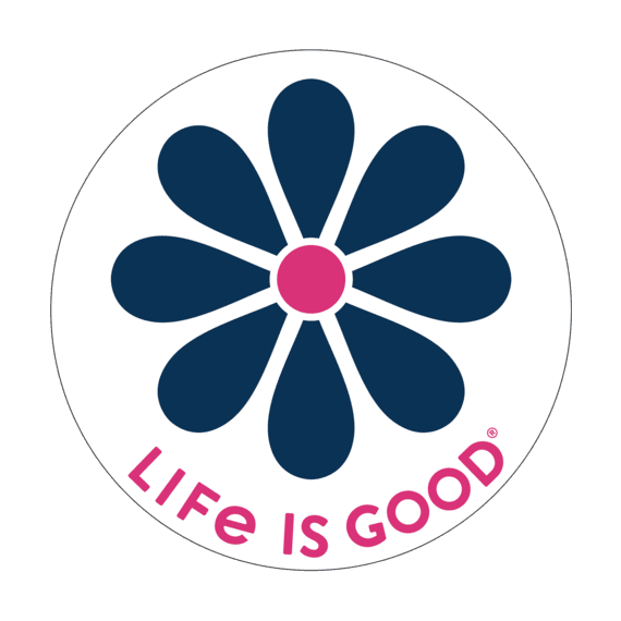 "Life Is Good® Simple Daisy 4"" Circle Sticker"