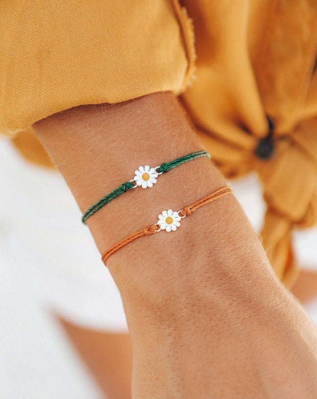 Pura Vida Daisy Charm Bracelet, Burnt Orange & Heather Green