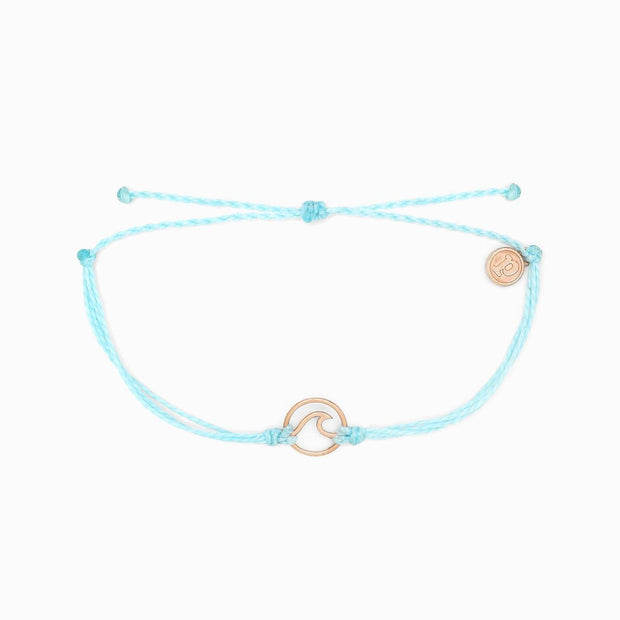Pura Vida Rose Gold Wave Charm Bracelet (Ice Blue)