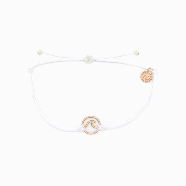 Pura Vida Rose Gold Wave Charm Bracelet (White)