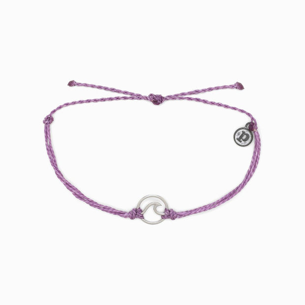 Pura Vida Silver Wave Charm Bracelet (Light Purple)