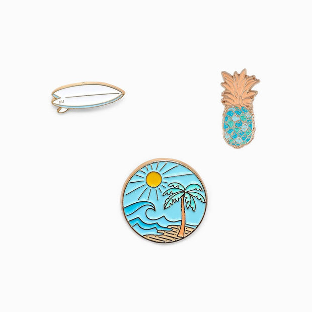 Pura Vida Surf Check Pin Set of 3