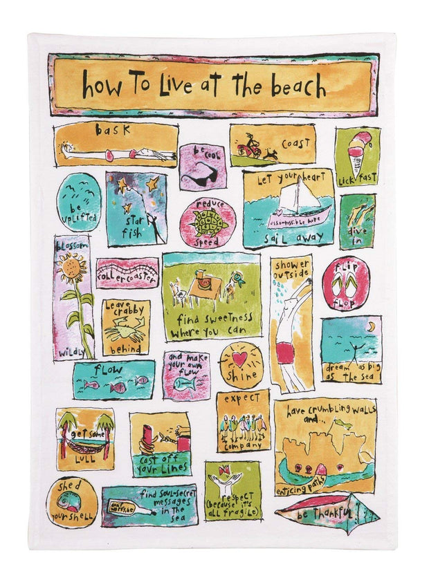 Live at the Beach Kitchen Towel by Sandy Gingras for Peking Handicraft