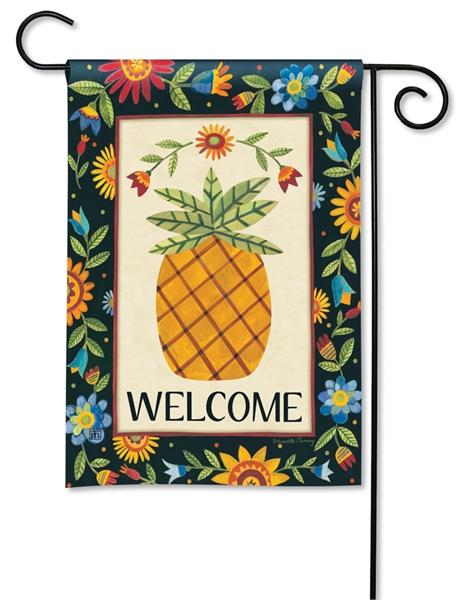 Floral Pineapple Garden Flag