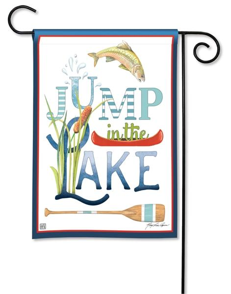 Jump In The Lake Garden Flag