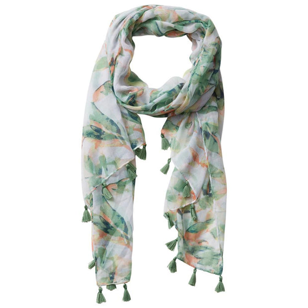 Tropical Jungle Floral Tassel Scarf (Aloha)