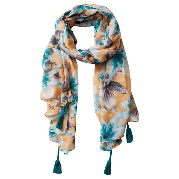 Anvi Tropical Floral Tassel Scarf (Yellow)
