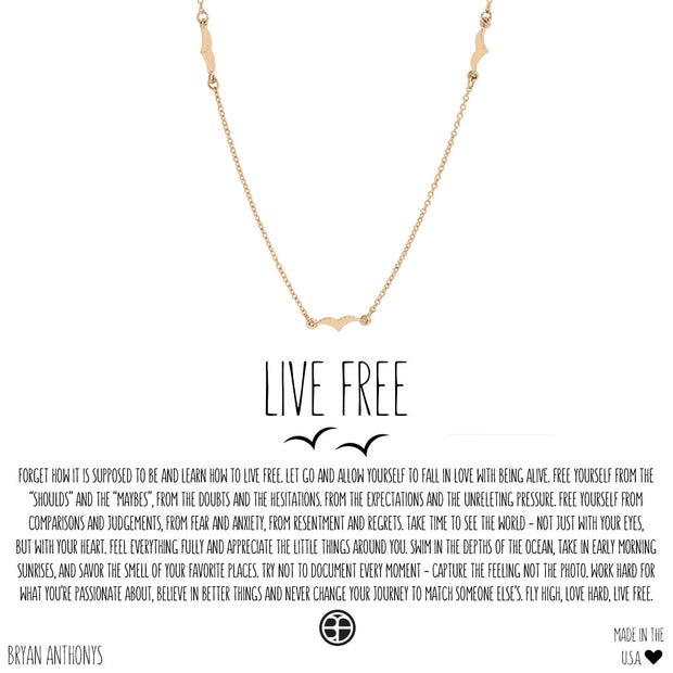 Bryan Anthonys Live Free Necklace (Gold)