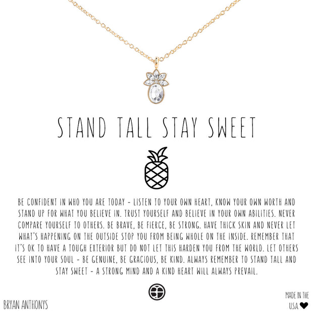 Bryan Anthonys Stand Tall Stay Sweet Pineapple Necklace - Gold