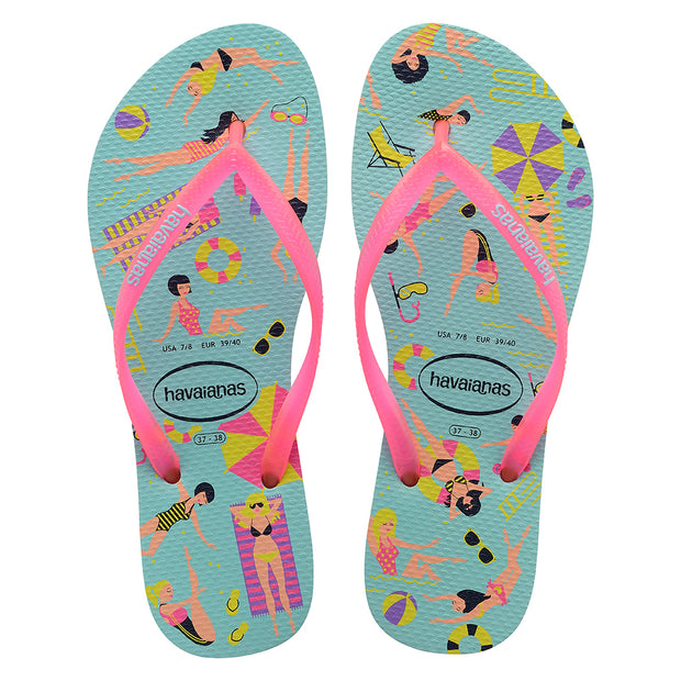 Havaianas Slim Cool Sandal (Ice Blue/Shocking Pink)
