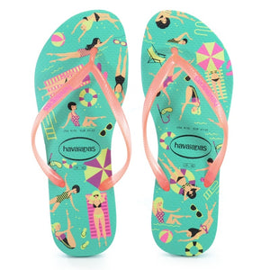 Havaianas Slim Cool Sandal (Mint Green/Orange Cyber)