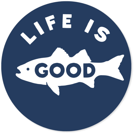 "Life Is Good® Fish 4"" Round Sticker"