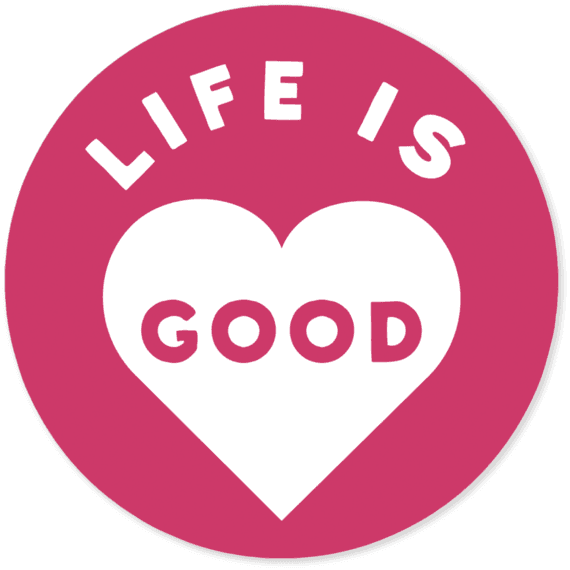 "Life Is Good® Heart 4"" Round Sticker"