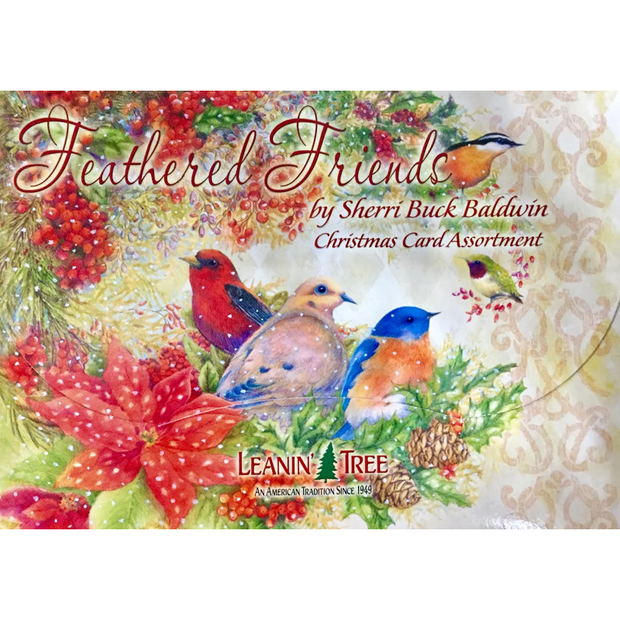Leanin' Tree Feathered Friends by Sherri Buck Baldwin 20 Christmas Cards Assortment
