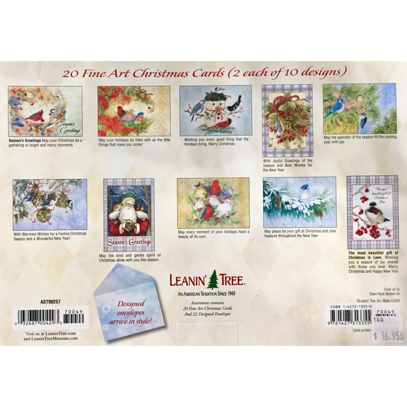 Leanin\' Tree Feathered Friends 20 Christmas Cards Assortment | Coral ...