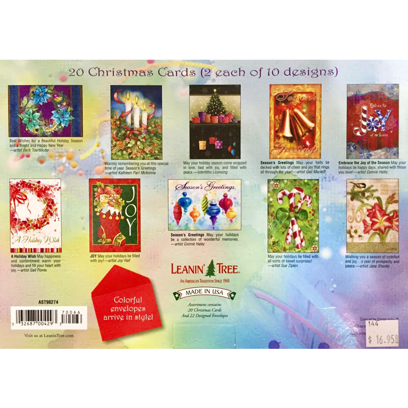 Leanin\' Tree Holiday Cheer 20 Christmas Cards Assortment | Coral ...