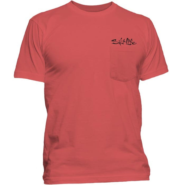 Salt Life Ghost Ship Pocket Tee (Burnt Coral)