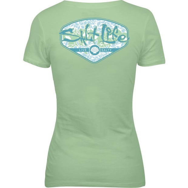 Salt Life® Tropescado Shell Ladies V-neck Tee (Aqua)
