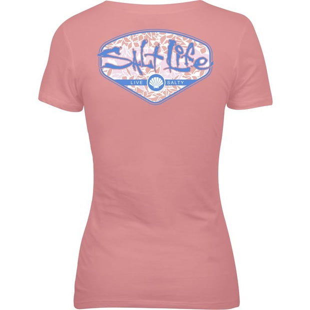Salt Life® Tropescado Shell Ladies V-neck Tee (Flamingo)