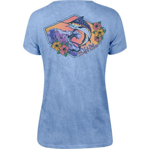 Salt Life Marlin Waves Salt Wash Boyfriend Tee (Blue Bell)