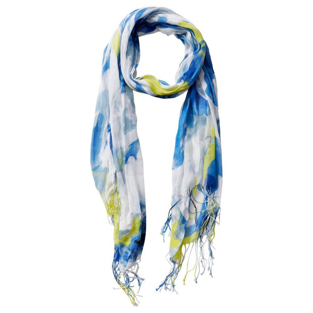 Large Bunch Floral Fringe Scarf (Blue)
