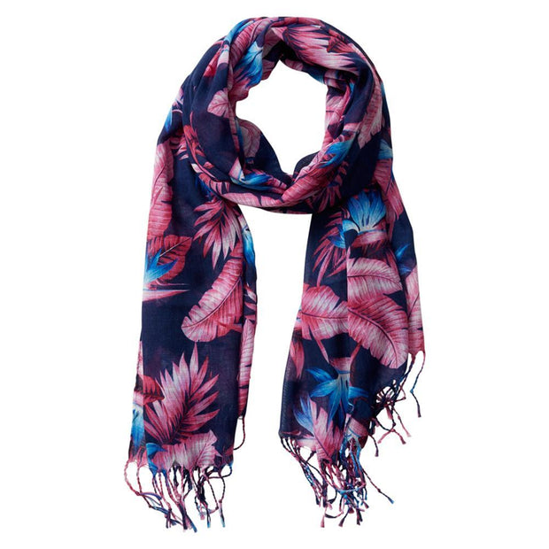 Tropical Jungle Floral Tassel Scarf (Tropical Paradise)