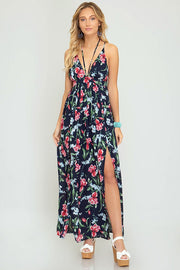 Strappy Woven Floral Maxi Dress (Navy)
