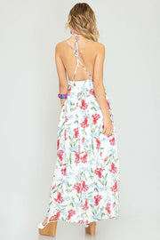 Strappy Woven Floral Maxi Dress (Off-White)