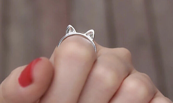 Solid Sterling Silver 3D Cat Ear Ring - Cat Roar Store
