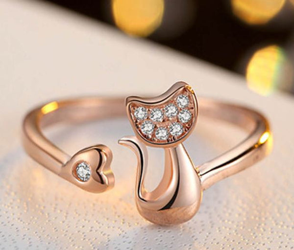 Cat Heart Open Adjustable Ring - Rose Gold or Silver Plated - Cat Roar Store