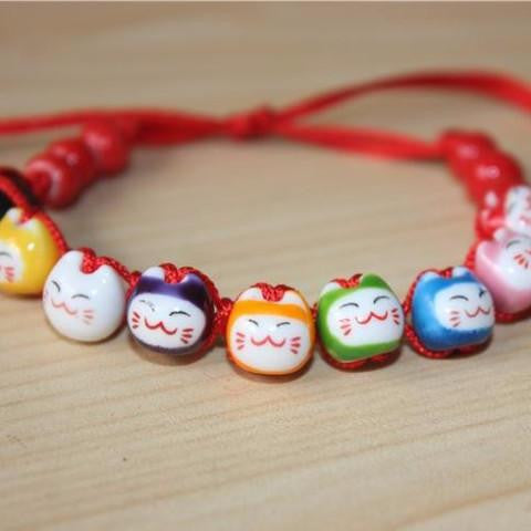 Ceramic Cat Friendship Bracelet - Black or Red