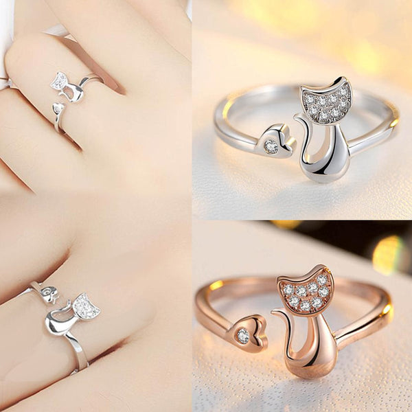 Cat Heart Open Adjustable Ring - Rose Gold or Silver Plated