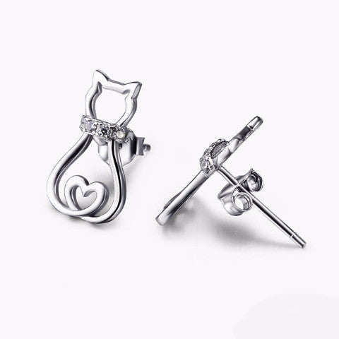 925 Sterling Silver Cat Heart Earrings - Cat Roar Store