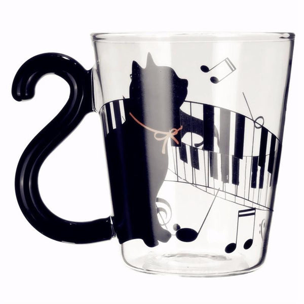 Cute Lovely Cat Glass w/Tail Handle Mug 300ml - 3 Designs - Cat Roar Store